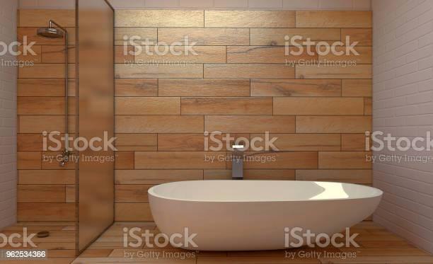 Foto de Casa De Banho Escandinava Projeto Interior Do Vintage Clássico Renderização 3d e mais fotos de stock de Artigo de decoração
