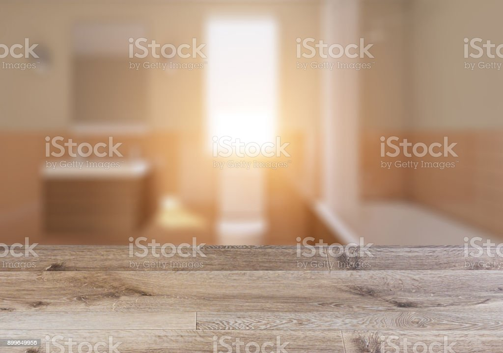 Scandinavian bathroom, classic  vintage interior design.  Empty wooden table. stock photo