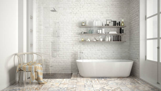 scandinavian bathroom, classic white vintage interior design - retro decor stock photos and pictures