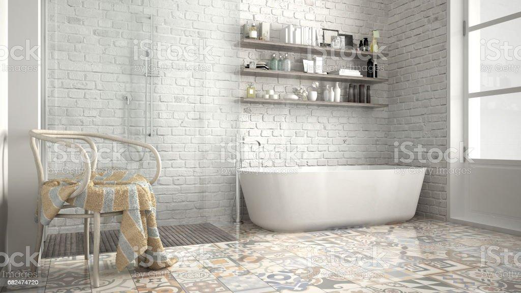 Scandinavian bathroom, classic white vintage interior design royalty-free stock photo