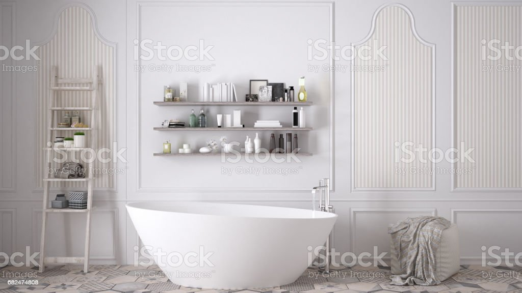 Scandinavian bathroom, classic white vintage interior design stock photo