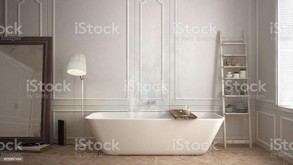 Scandinavian bathroom, white minimalistic design, hotel spa resort