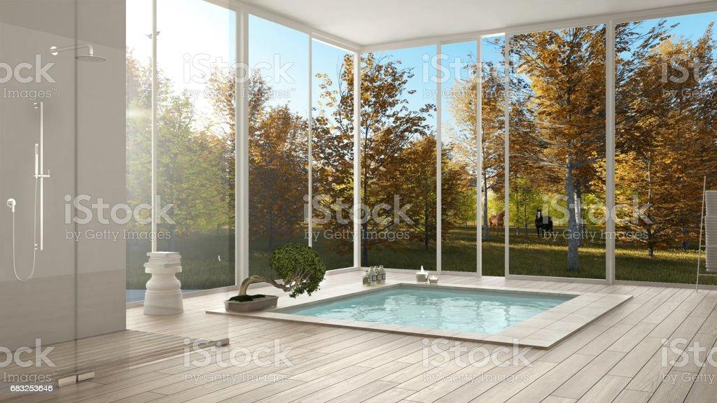 Scandinavian bathroom, white minimalistic interior design,  big windows with autumn landscape and grazing horses, hotel, spa, resort stock photo