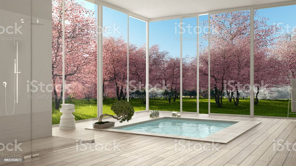 Scandinavian bathroom, white minimalistic interior design,  big panoramic windows, spring garden, pink flowering trees, hotel, spa, resort 免版稅 stock photo