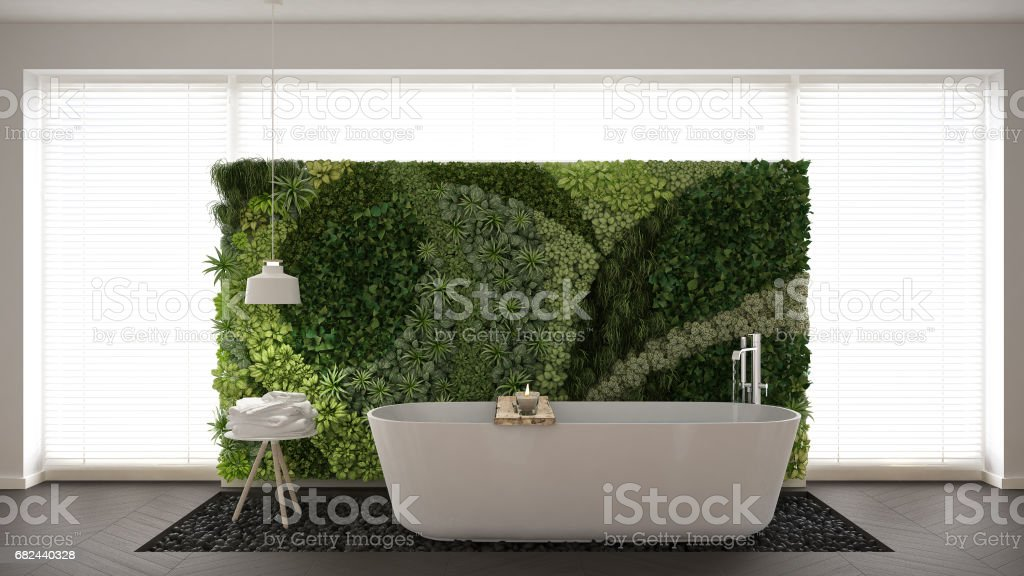 Scandinavian bathroom with vertical garden, white minimalistic interior design royalty-free stock photo
