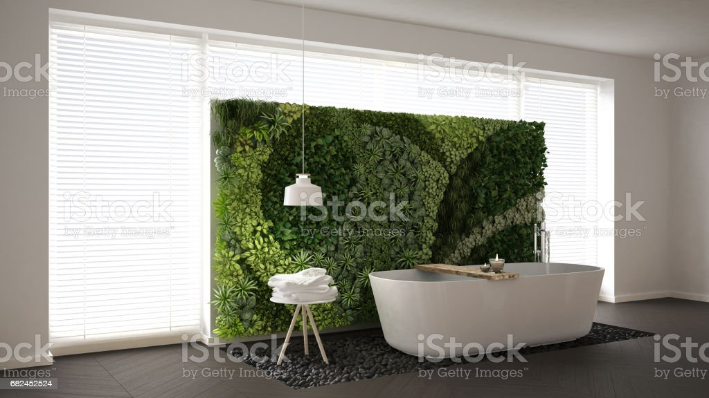 Scandinavian bathroom with vertical garden, white minimalistic interior design royalty-free stock photo