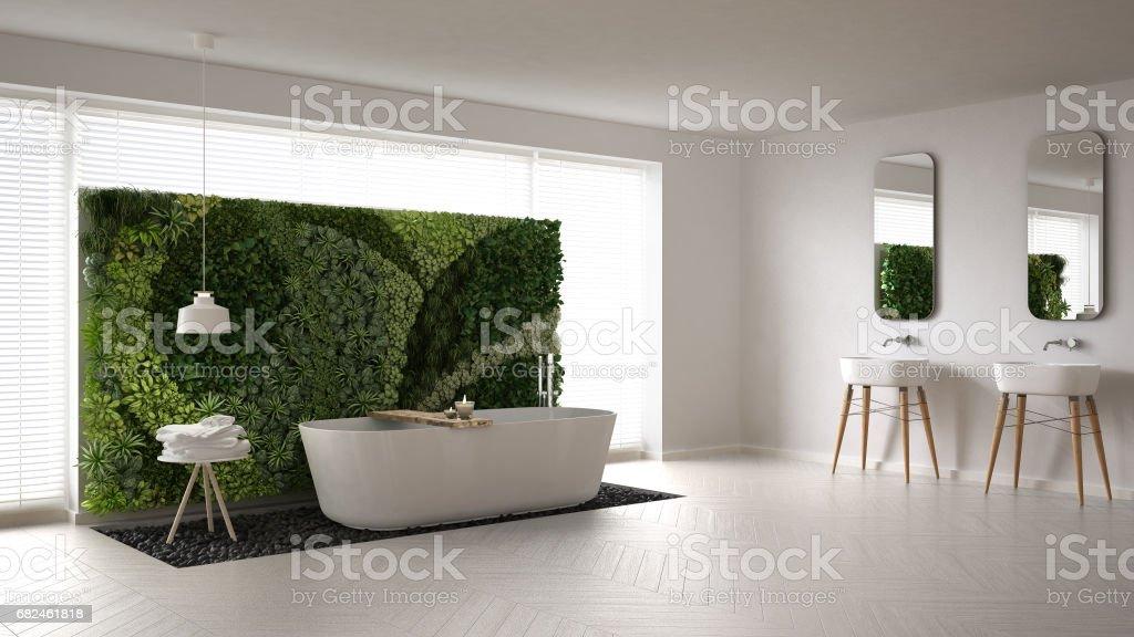Scandinavian bathroom with vertical garden, white minimalistic interior design photo libre de droits