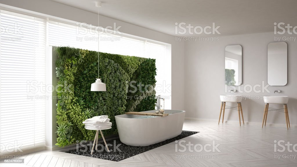 Scandinavian bathroom with vertical garden, white minimalistic interior design Lizenzfreies stock-foto