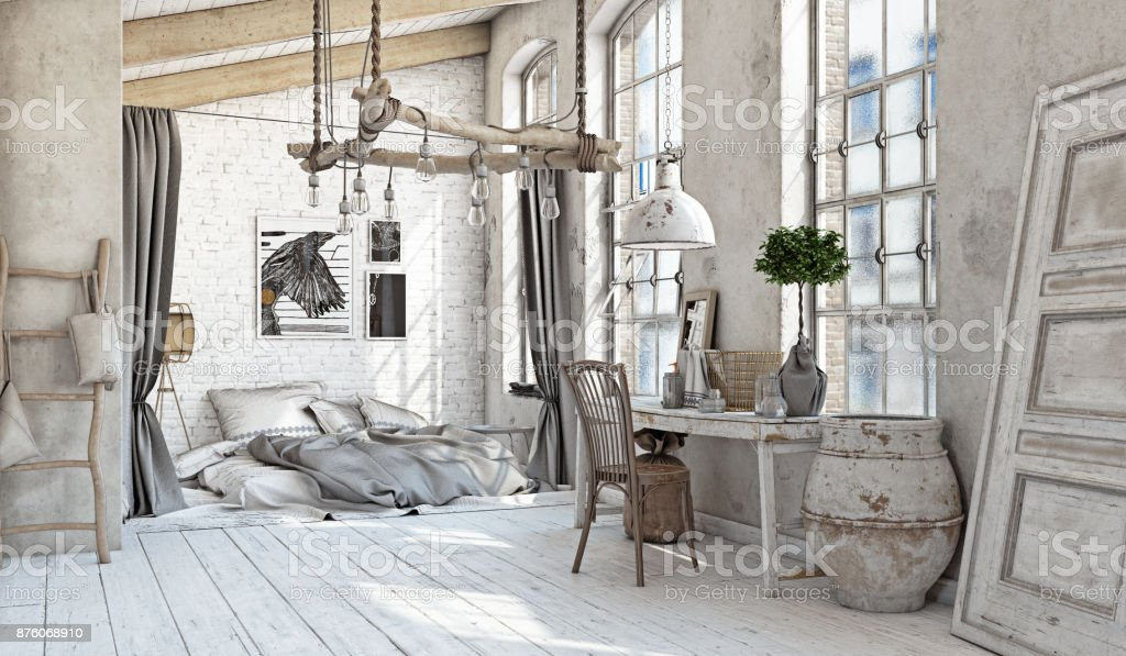 Scandinavian  Bedroom interior stock photo