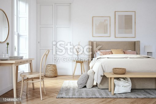Bedroom interior with wooden furniture, 3d render