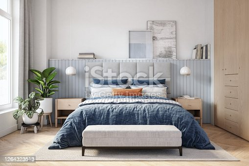 istock Scandinavian bedroom interior - stock photo 1264323513