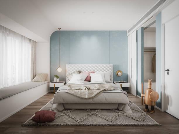 Scandinavian Bedroom stock photo