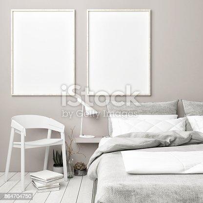 istock Scandinavian bedroom with mock up posters 864704750