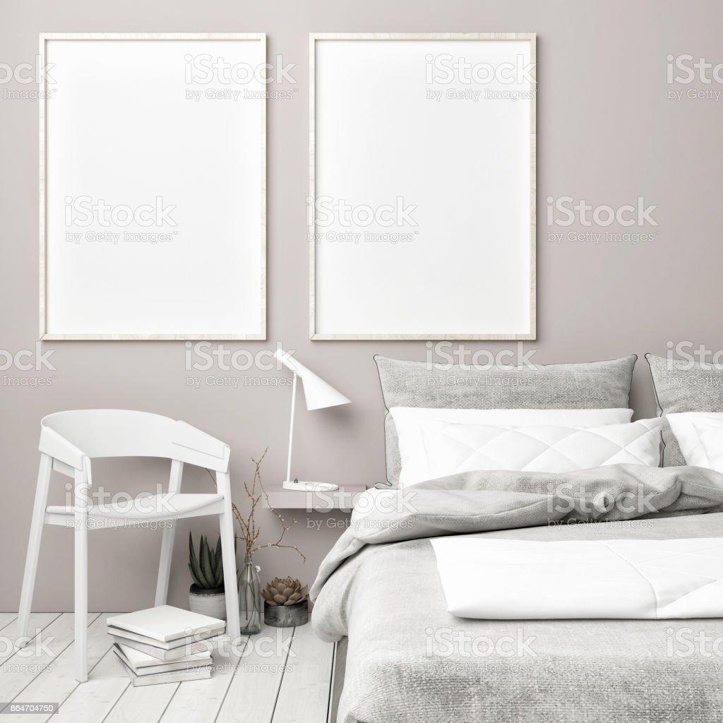 Scandinavian bedroom with mock up posters stock photo