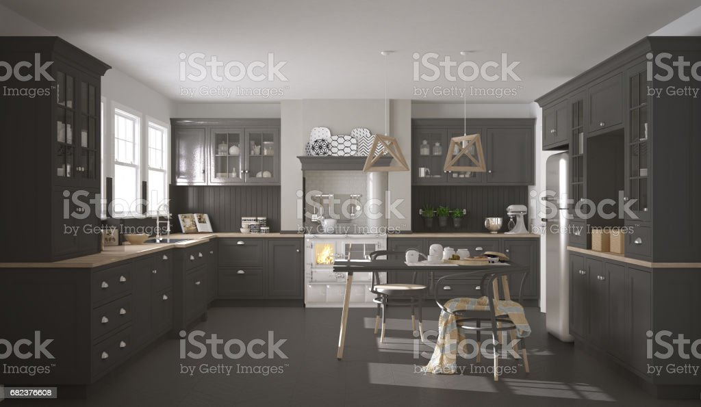 Scandinavian classic gray kitchen with wooden details, minimalistic interior design foto stock royalty-free