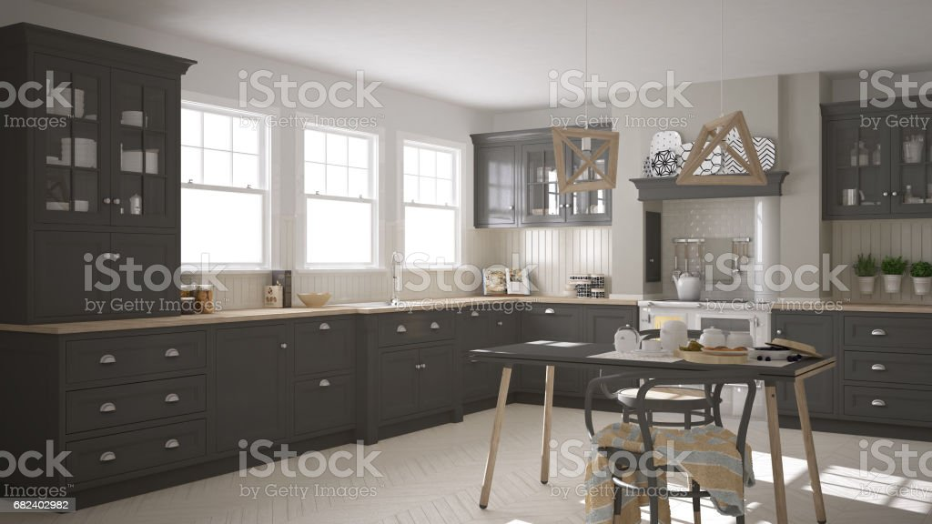 Scandinavian classic gray kitchen with wooden details, minimalistic interior design royalty-free stock photo