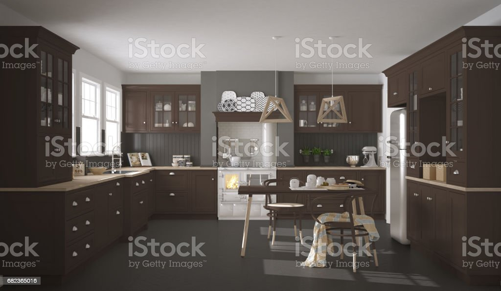 Scandinavian classic kitchen with wooden and brown details, minimalistic interior design foto stock royalty-free