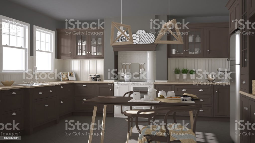 Scandinavian classic kitchen with wooden and brown details, minimalistic interior design royalty-free stock photo
