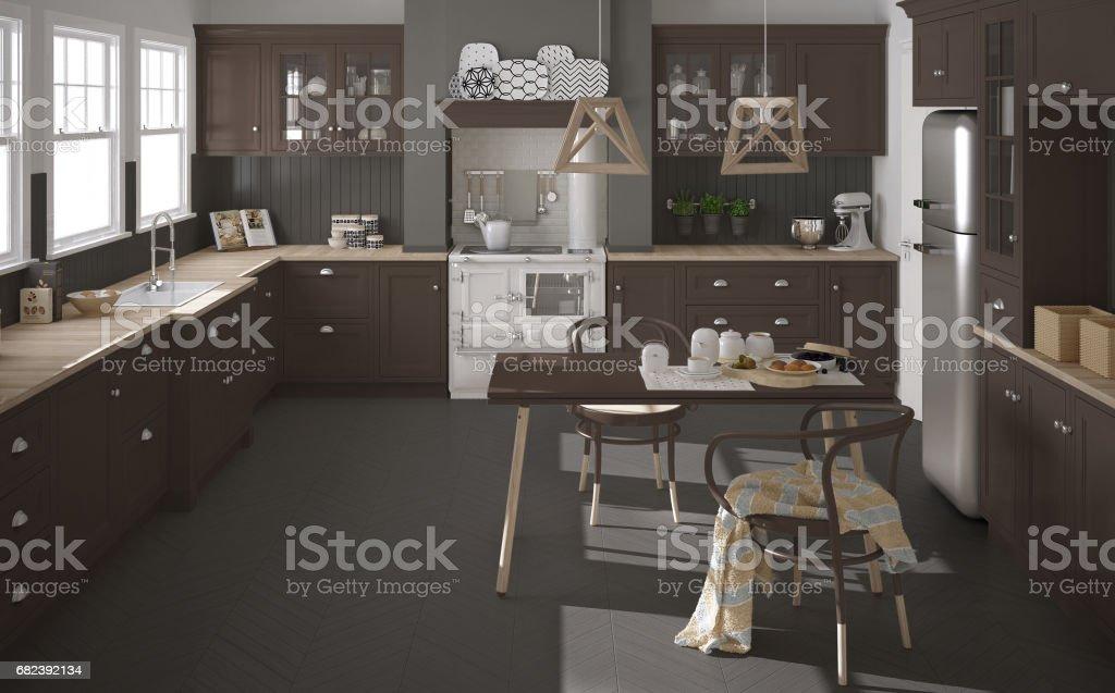 Cuisine classique scandinave avec détails en bois bruns, décoration minimaliste photo libre de droits