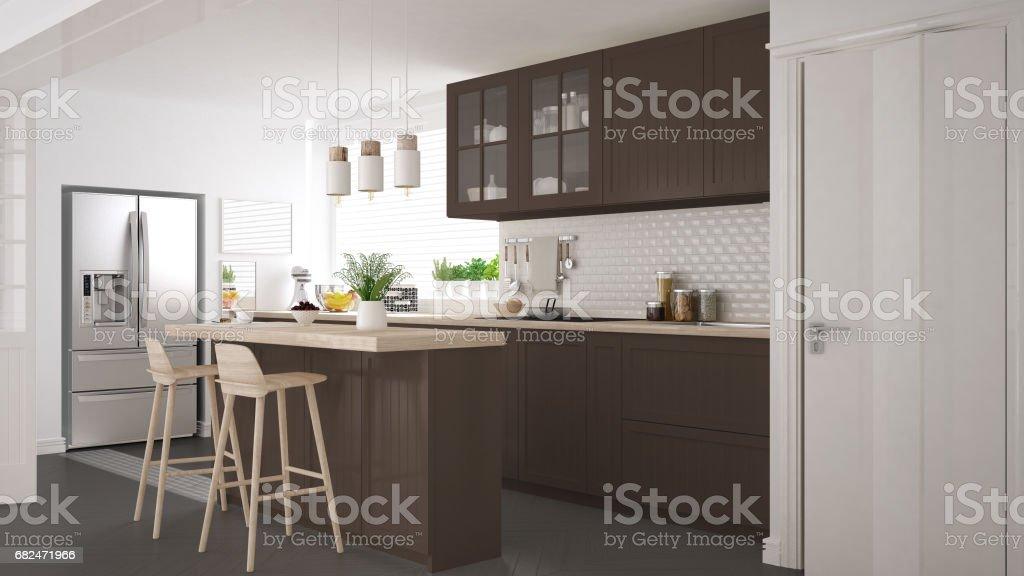 Scandinavian classic kitchen with wooden and brown details, minimalistic interior design Стоковые фото Стоковая фотография