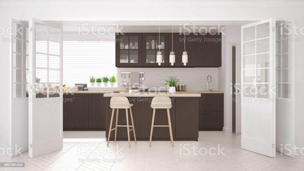 Skandinavische klassische Küche mit Holz- und braunen Details, minimalistisches Interieur design Lizenzfreies stock-foto