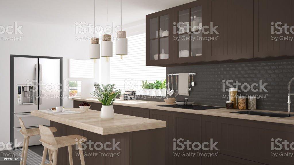 Cocina escandinava clásica con detalles marrones y madera, diseño interior minimalista foto de stock libre de derechos