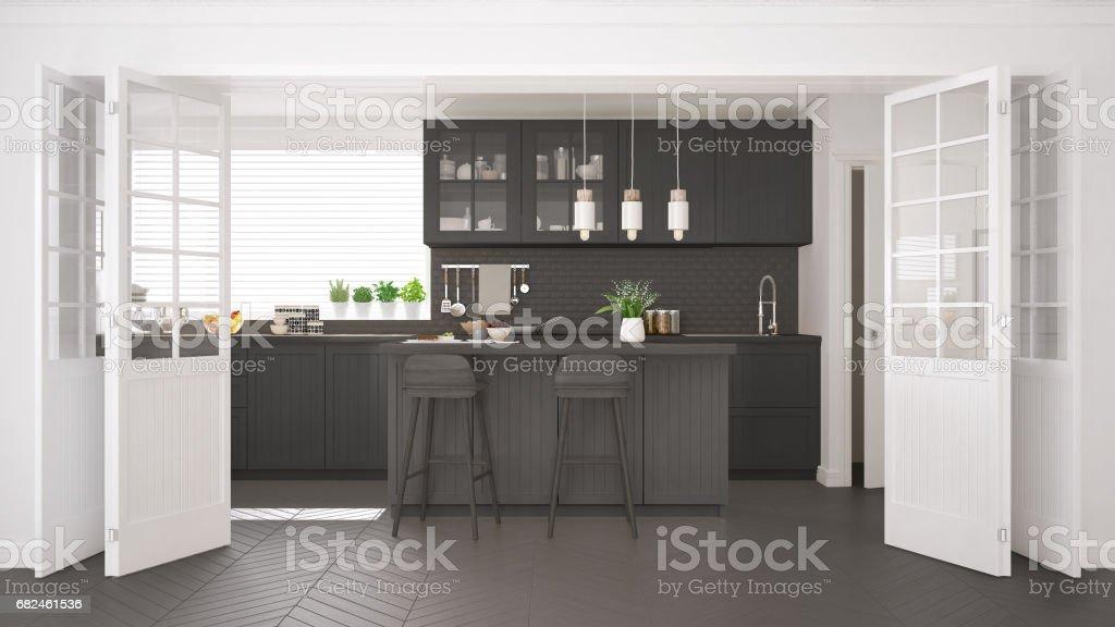 Cocina escandinava clásica con detalles gris y madera, diseño interior minimalista foto de stock libre de derechos