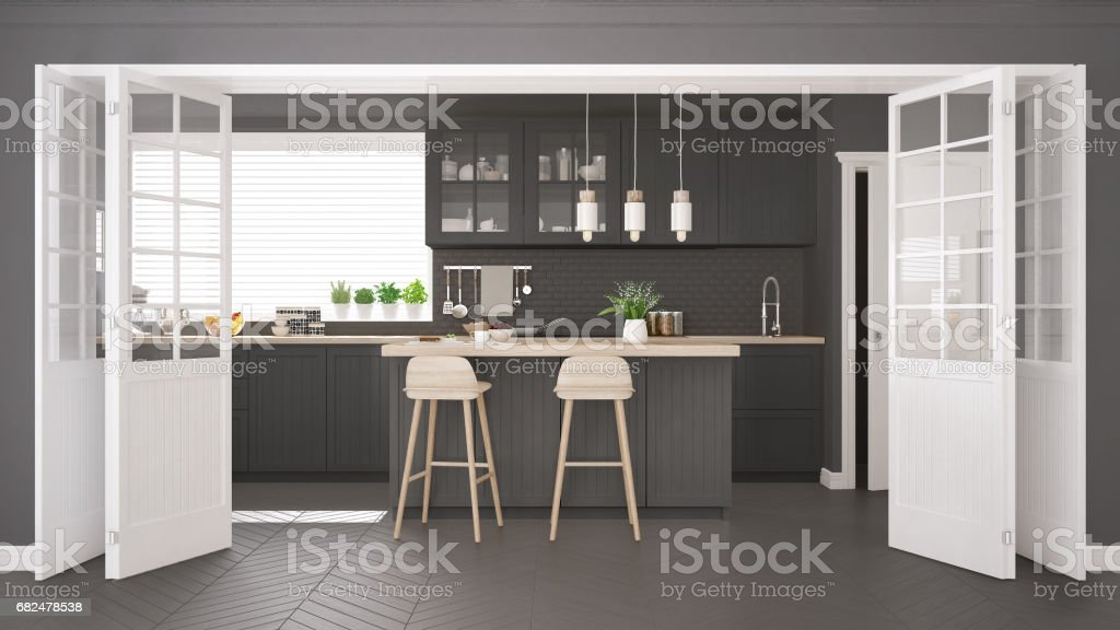 Scandinavian classic kitchen with wooden and gray details, minimalistic interior design royalty-free stock photo