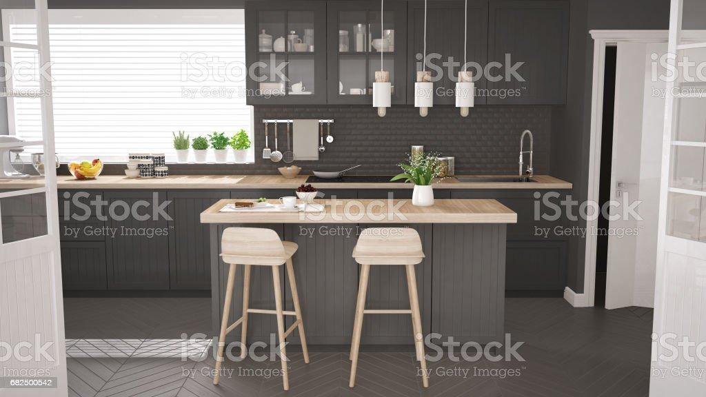 Skandinavische Klassische Küche Mit Holz Und Grauen Details ...