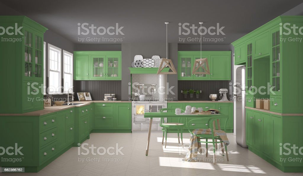 Scandinavian classic kitchen with wooden and green details, minimalistic interior design foto stock royalty-free