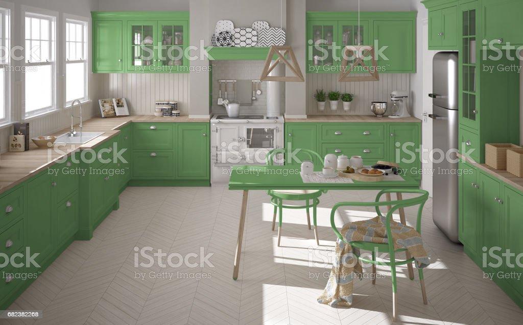 Scandinavian classic kitchen with wooden and green details, minimalistic interior design zbiór zdjęć royalty-free