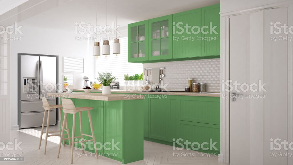Scandinavian classic kitchen with wooden and green details, minimalistic interior design royalty-free stock photo