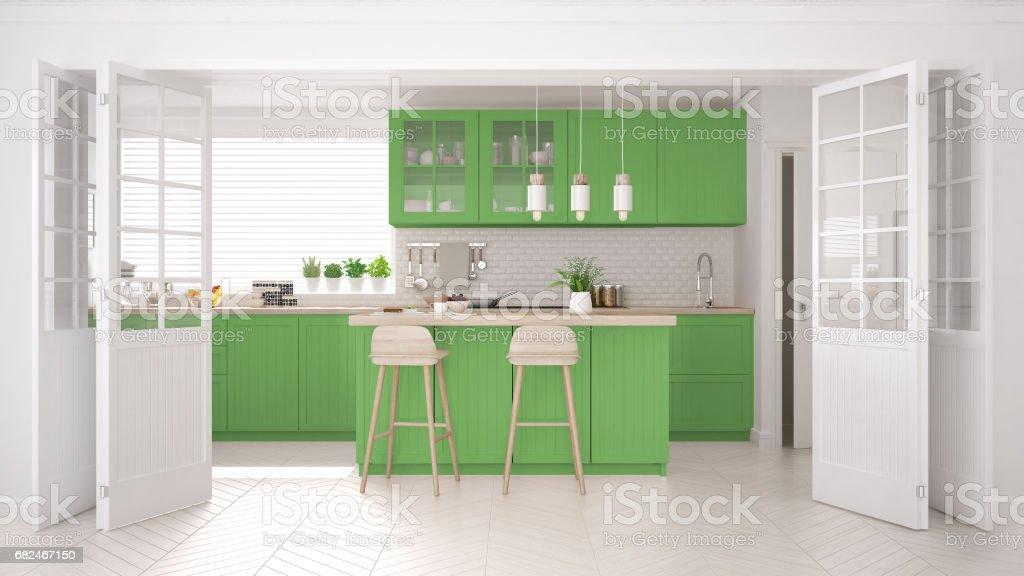 Skandinavische klassische Küche mit Holz- und grünen Details, minimalistisches Interieur design Lizenzfreies stock-foto