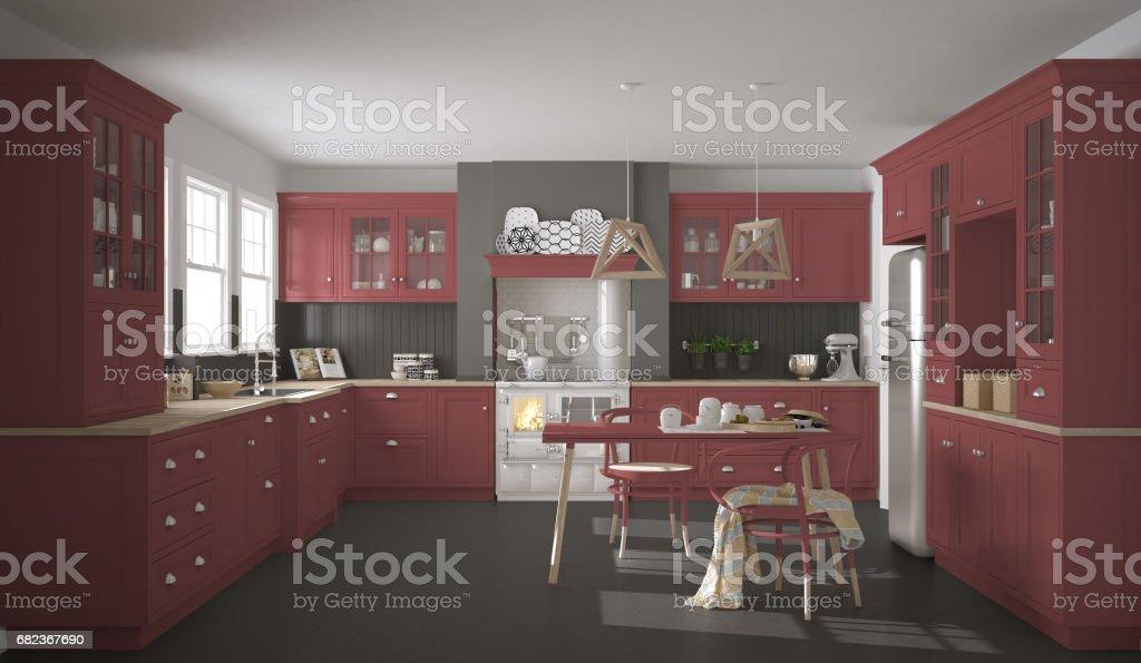 Scandinavische klassieke keuken met houten en rode details, minimalistische interieur royalty free stockfoto