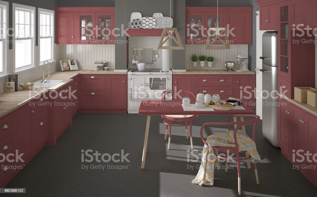 Scandinavian classic kitchen with wooden and red details, minimalistic interior design royalty-free stock photo
