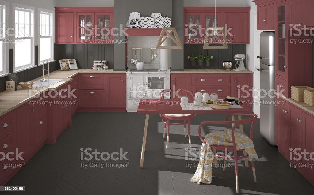 Cuisine classique scandinave avec des détails en bois et rouges, décoration minimaliste photo libre de droits