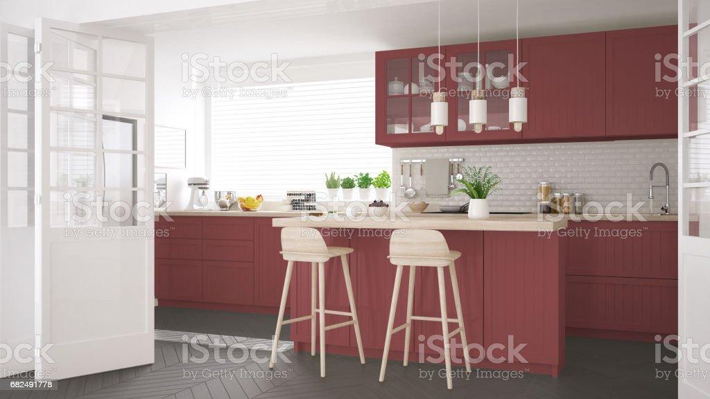 Skandinavische klassische Küche mit Holz- und roten Details, minimalistisches Interieur design Lizenzfreies stock-foto