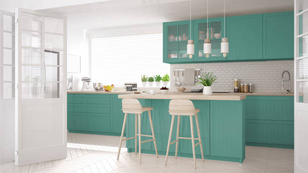 Scandinavian classic kitchen with wooden and turquoise details, minimalistic interior design stock photo