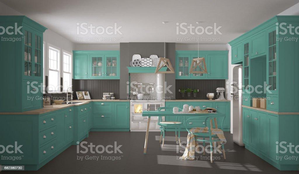 Scandinavische klassieke keuken met houten en turquoise details, minimalistische interieur royalty free stockfoto