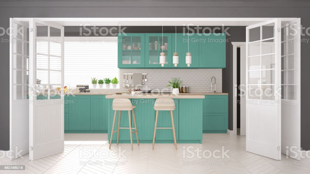 Scandinavian classic kitchen with wooden and turquoise details, minimalistic interior design Стоковые фото Стоковая фотография