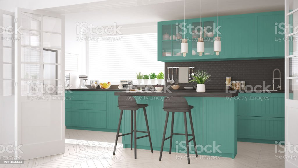 Scandinavian classic kitchen with wooden and turquoise details, minimalistic interior design royalty-free stock photo