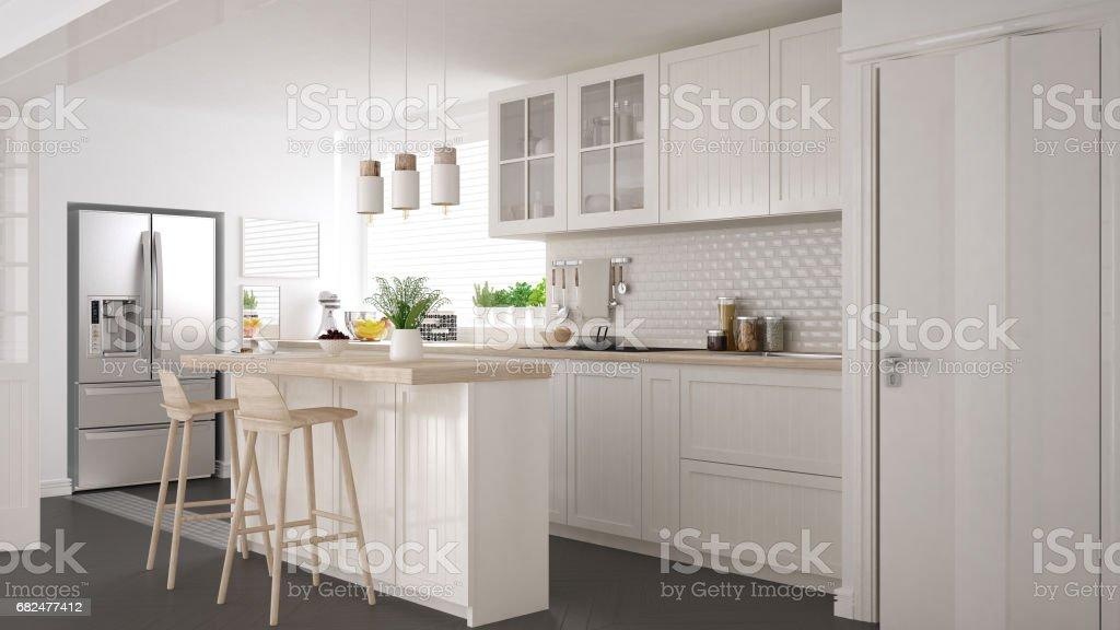 Skandinavische klassische Küche mit Holz- und weißen Details, minimalistisches Interieur design Lizenzfreies stock-foto