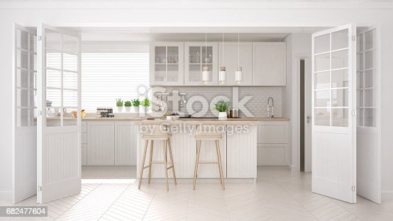 istock Scandinavian classic kitchen with wooden and white details, minimalistic interior design 682477604