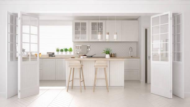 스 칸디 나 비아 클래식 부엌 나무 및 백색 세부, 최소한의 인테리어 디자인 - 모던 양식 뉴스 사진 이미지