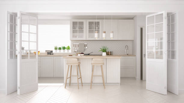 Scandinavian classic kitchen with wooden and white details, minimalistic interior design stock photo