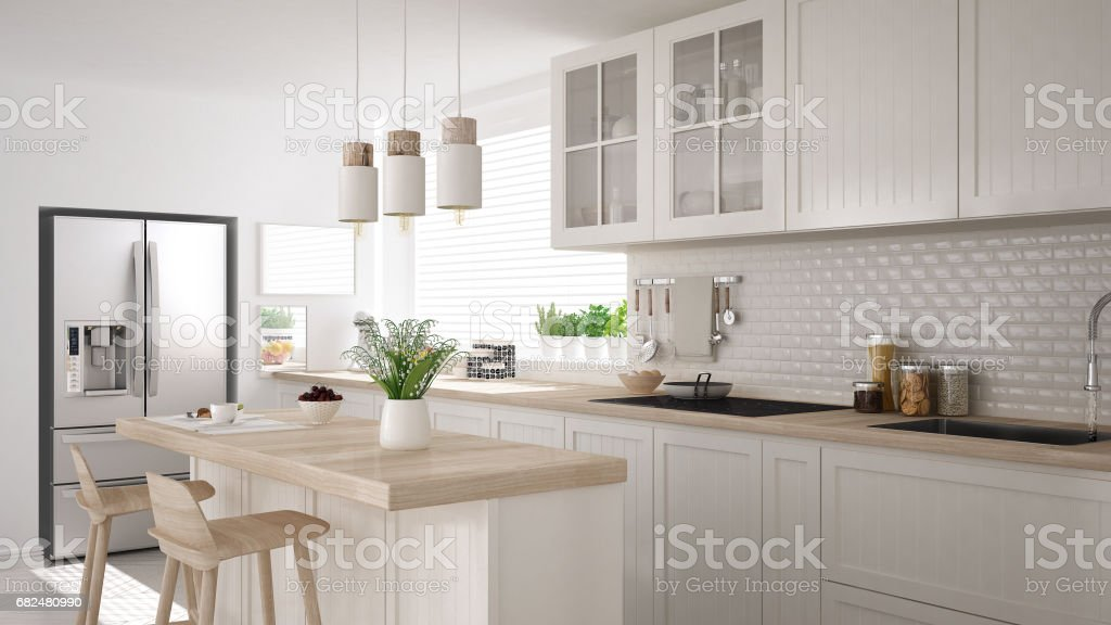 Scandinavian classic kitchen with wooden and white details, minimalistic interior design royalty-free stock photo