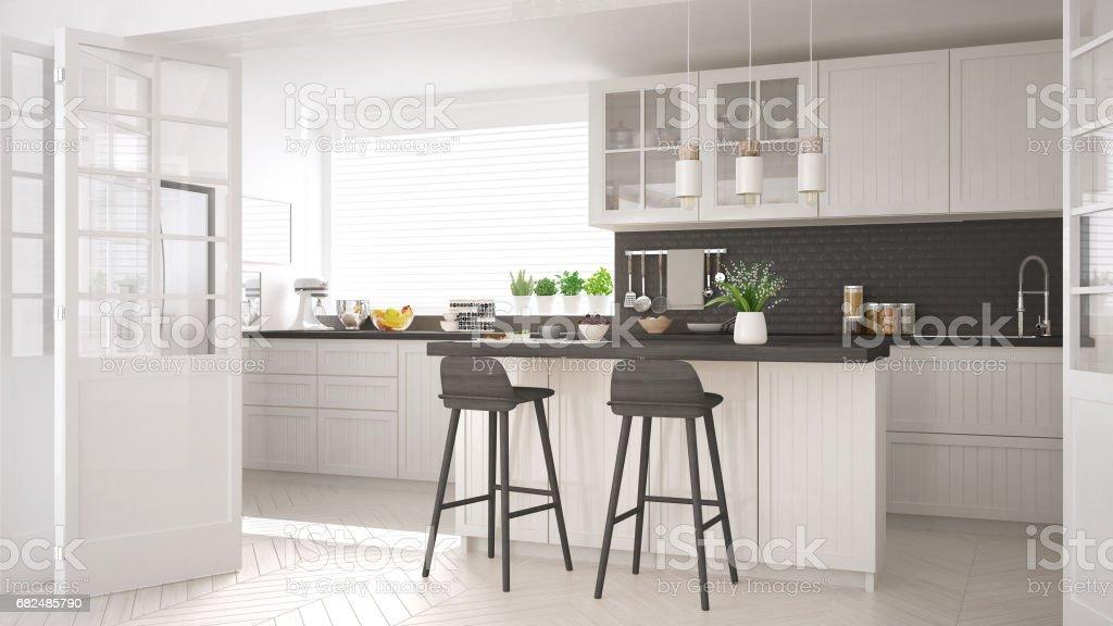 Cocina escandinava clásica con detalles blancos y madera, diseño interior minimalista foto de stock libre de derechos