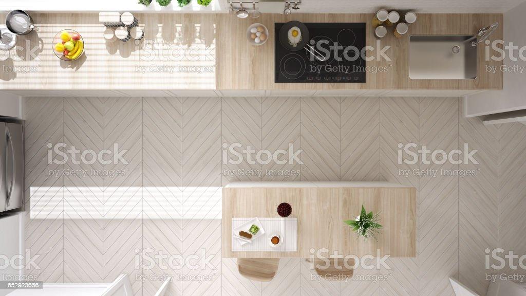 Scandinavische klassieke keuken met houten en witte details