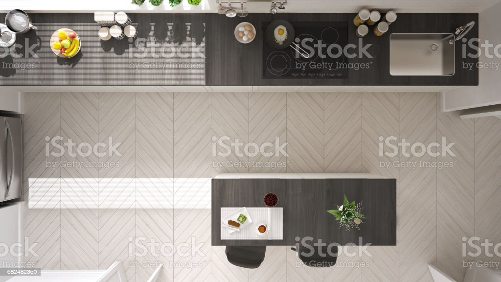 Scandinavian Classic Kitchen With Wooden And White Details Top View
