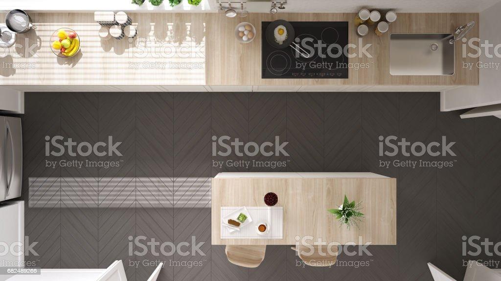 Skandinavische klassische Küche mit Holz- und weißen Details, Draufsicht, minimalistisches Interieur design Lizenzfreies stock-foto